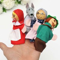 Wholesale Factory Price little red riding hood finger puppets a set of plush wooden doll mother tell baby story By DHL