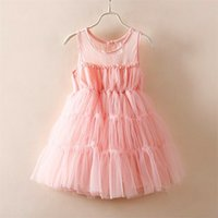 cute dress - Princess Cute Girls Tutu Lace Dress Fairy Dress Sleeveless Halter Mesh Party Dress Western Kids Girls Pink Color Casual Dress