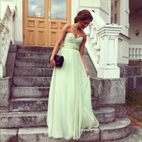Cheap Simple Bridesmaid Dresses Strapless Ruched Bodice Ribbon Belt A Line Chiffon Lime Green Long Cheap Prom Dresses 2014 VT