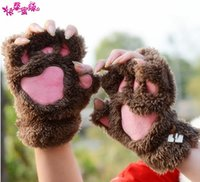 Wholesale Guantes female cute cartoon cat claw cartoon girl winter gloves half finger glove thick warm catlike women gifts