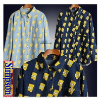Lapel Neck bart simpson shirts - SALE High quality women men Cartoon Portrait Head Bart Simpson loose long sleeve denim Jean shirt top plus size