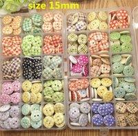 al por mayor coser botones artesanales mixtos-envío libre mezcló 100 PC 30 estilos 15mm puntos 2 hoyos y rayas estampadas botón de costura de madera Scrapbooking manualidades accesorio
