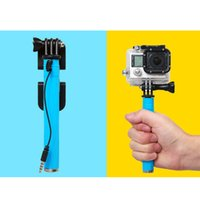 Wholesale Supreme Wired mini Selfie Stick Handheld Monopod Built in camera Shutter for iPhone Samsung Smartphone Any Phone Gopro
