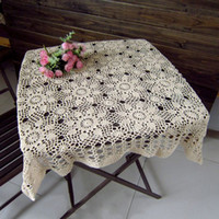 crochet table cloth - Wholesales Hand crocheted Retro Square Table Cloth Hollow Weave Tea Table Cloth Home Decor Tablecloths JM0113