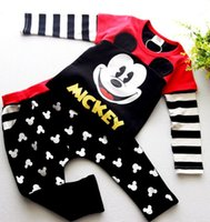 Wholesale Hot Boys Casual Suit children s wear autumn sports baby boys Minnie Mickey clothing Long sleeve set girl Christmas Gifts
