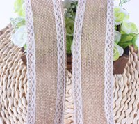 Wholesale Natural Jute Burlap Hessian Ribbon With Ivory Trim Lace Edge Vintage Wedding Decoration Party Decoration Handmade M