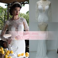 Cheap 2015 New Real Image Berta Sheer Mermaid Wedding Dress Sexy White Sequined Lace Jewel Long Sleeves Backless Applique Glitz Bridal Gown BE1537