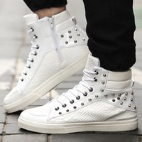 snake skateboard - Punk Rocky Snake Texture Leather High Tops Skateboard Shoes Mens Hip Hop Shoes Sneakers Ankle Boots Casual Shoes Rivet Studded Lace Up Zip