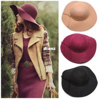 Wholesale Fashion Hot Soft Women Vintage Retro Wide Brim Wool Felt Bowler Fedora Hat Floppy Cloche Big Brim Chapeu Hat