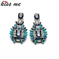 Wholesale Shijie Statement Trendy Jewelry Elegant Shiny Resin Stone Blue Plant Earrings Factory