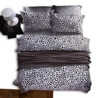 leopard print bedding - 2015 fashion Black and white leopard print Cotton Duvet Cover Set Bedding Sets Pillow case Bed sheet Duvet cover Full Queen King