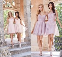 Wholesale A Line Custom Made One Shoulder Sweetheart Tulle Bridesmaid Dresses Backless Short Mini Dress for Bridesmaid SL0265
