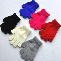 baby mittens winter - Children Gloves Baby Kids Winter Knitted Gloves Solid Colors Full Finger Stretchy Gloves Students Gloves Boys Girls Warm Mittens Colors