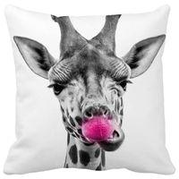 giraffe print - vintage giraffe pink nose Print Custom Home Decorative Throw Pillow almofadas decorate pillow sofa chair cushion