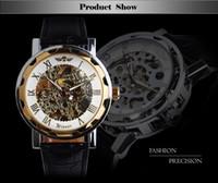 Precio de Gifts-El mejor regalo !! 2015 numerales griegos Dial Relojes fresca Hombres hueco retro reloj mecánico de cuero de la nave libre de la vendimia Esqueleto Rueda de engranaje Tótem Reloj