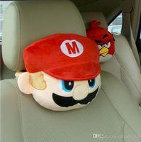 Wholesale LJJG169 Car Headrest Cute Cartoon Mario Car Neck Pillow Plush Pillow Car Seat Travel Pillow