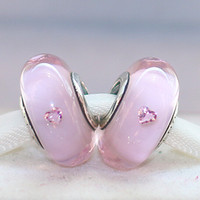 Cheap 5pcs 925 Sterling Silver Threaded Screw Pink Hearts Murano Glass Bead with Cz Fits European Jewelry Charm Bracelet Necklaces & Pendants