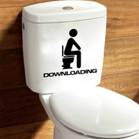 Wholesale Black Man seat Downloading Wall Quote Toilet Stickers Funny Wall Art Decal for Washroom Restroom Toilet Decoration Decor