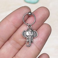 Wholesale 2pcs Handmade Elephant Captive Bead Ring Cartilage Conch Helix Tragus Navel Ear Piercing