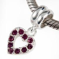 Wholesale Purple Austria Diamond Hearts Dangle Bead Sterling Silver Beads for Pandora European Charms Fit Snake Chain Bracelets DIY Jewelry