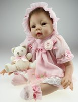 Wholesale 22 quot Lifelike Reborn Baby Alive Soft Silicone Little Princess Girl Doll Kits Set Kids Women Interactive Toys Gift
