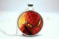 american comic - 10PCS Spiderman Superhero Comic Pendant Necklace Glass Photo cabochon necklace