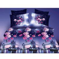 Wholesale 4pcs D Printed Bedding Set Tower Bridge Plum Blooming Queen Size Duvet Cover Bed Sheet Pillowcases Home Textiles Bedclothes order lt no t