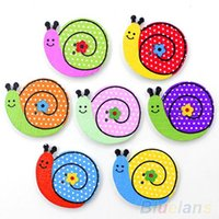 Wholesale 50pcs Lovely Sewing Cartoon Animal Wood Buttons Holes Knopf Bouton MQ7 DD