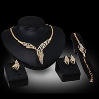 Wholesale K Gold New Bridal Jewelry Rhinestone Feather Brand Party Necklace Earrings Bracelet Ring Jewelry Sets N833