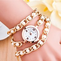 Wholesale Fashion Luxury Brand Lady Pearl Bracelet Series Watches Women Golden Chain Quartz Watch Multilayer Beads Women Students Wristwatch