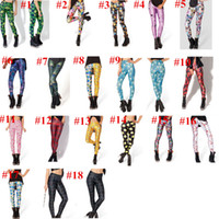 Cheap Fashion Women Leggings Shinng Galaxy Leggings Casual Pants Girls Adventure time Leggings Black Milk Skinny Tights Ninth Pants 18 Designs