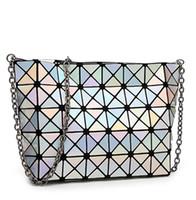 bag over shoulder - Fashion Fold Over Bag Women Messenger Bag e Bao Bao Geometry Handbag Diamond Lattice Chain Shopping Bag