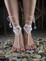 Wholesale Beach wedding barefoot sandal handmade Crochet Barefoot Sandal Foot Jewelry Nude shoes Beach pool Yoga Shoes Gift for her