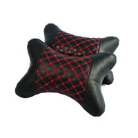 Wholesale Hippo Car Headrest Cushion Auto Pu Leather Seat Head Neck Rest Pillow Mat Red Line