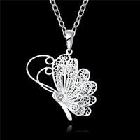 Wholesale 925 sterling silver butterfly pendant necklace romantic jewelry gifts for women top quality