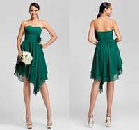 Wholesale 2015 Simple A line Strapless Asymmetrical Backless Applique Chiffon Bridesmaid Dress