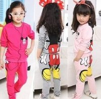 mickey - Long Sleeve Cartoon Cotton Mickey Mouse Kids Clothes Tshirt Pullover Tops Pants Sets Children Tee Trousres Activewear Outfit D5044
