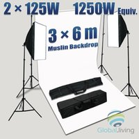 Wholesale 1250W Photo Studio SoftBox Soft Box Continuous Light x6M White Backdrop Kit