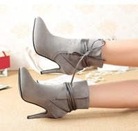 cowboy boots for women - Elegant lace up sueded high heels ankle boots for women black grey pointed toe boots size to