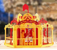 Wholesale 3D Merry Go Round Greeting Cards for Valentine Children Kids Creative Hollow Out Handmade Romantic Invitation Cards