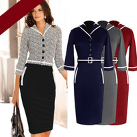 Round business wear - 2015 Womens Elegant Belted Long Sleeve Colorblock Tunic Business Work Casual Party Bodycon Pencil Sheath Wiggle Lapel Neck Dress DK2201CG