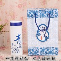 bama gifts - Blue and white porcelain ceramic gift box health thermos cup ceramic cup Bama longevity health cup factory