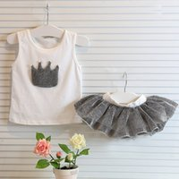 Cheap Summer sets 2pcs Suits Girls Shortless shirt + tutu Skirt girls fancy outfits Children Clothing AD016