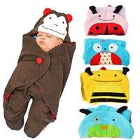 Wholesale Sleep sack Micro Fleece Baby Sleeping Bag Animal Pattern Wearable Blanket Doggie OWL Ladybug Bees Monkey