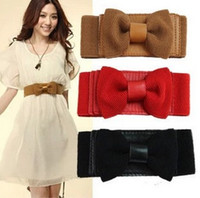 Wholesale 2015 Freeship Newest Fashion Sweet Women Bowknot Elastic Belt Bow Wide Stretch with Buckle Waistband Wide Elastic Belt