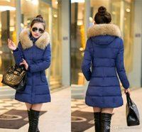 Wholesale 2015 Warm Faux Fur Hood Autumn Winter Jacket Women New Fashion Thicking Ladies Coats Long Cotton Padded Down Outerwears