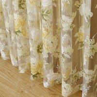 ГОРЯЧАЯ Высокое качество современной выросли цветочный тюль для занавески занавески для гостиной спальня окно скрининг панели