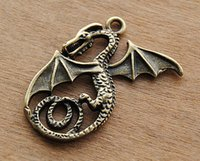 beautiful antique rings - Antique Bronze Medieval Dragon Charm Beautiful Details x40mm A531