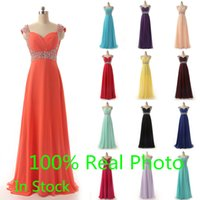 Cheap In Stock Two Tone Cheap Prom Dresses Real Image Mint Aqua Blush Chiffon Beaded Lace-up Full length A-line Dresses Party Evening Wear