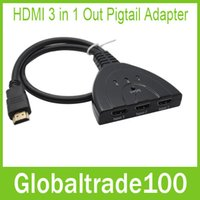 Wholesale HDMI in Out Adapter HDMI P Auto Switch Extender Switcher Splitter Hub With Cable Free DHL